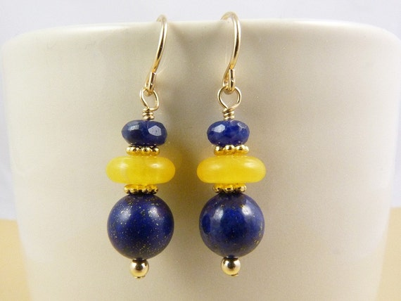 Blue and Gold  Lapis, Sodalite, and Golden Yellow Amber Earrings