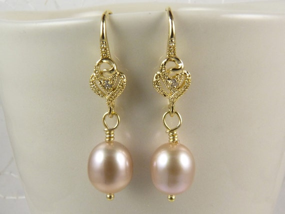 Pearl Earrings with AAA Golden Pink Freshwater Pearls and  Vermeil Ear Wires with Swarovski Crystals