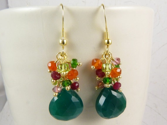 Rain Forest Earrings with Green Onyx, Ruby Quartz, Chrome Diopside, Peridot, Carnelian, Pink Topaz, and Vermeil