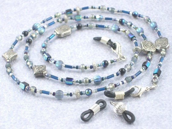 Eyeglass Chain with Blue, Silver, Gray, and Black Beads and Extra End Loops - Blue Fire