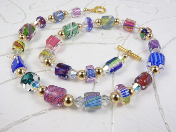 Cane Glass Bead  Necklace with Lampwork Glass, Swarovski Crystals, and Gold
