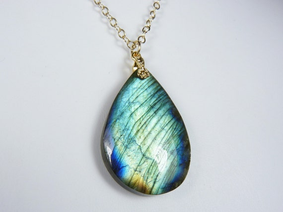 Labradorite Necklace with a Large Aqua, Green, and Blue Flash Pendant  on a Gold Chain