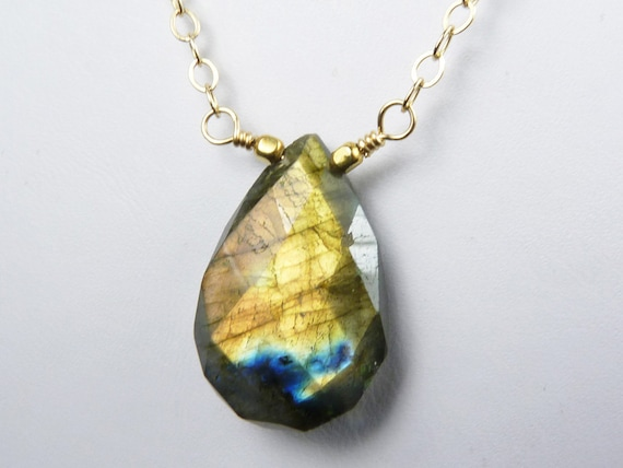 Labradorite Necklace, Faceted Labradorite Pendant with Gold and Copper Flash on a Gold Chain