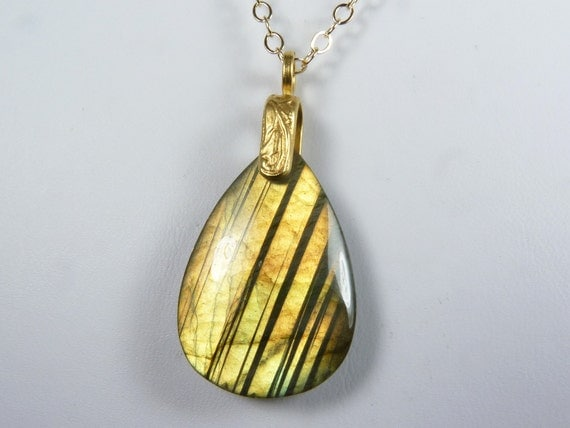 Labradorite Necklace, Glowing Labradorite Pendant with Iridescent Gold and Copper Flash on a Gold Chain - Golden Glow