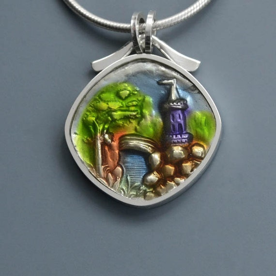 PMC, Sterling and  Resin Castle Pendant