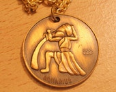 Vintage Astrology Horoscope Aquarius Pendant with Chain