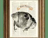 BOXER dog beautifully upcycled vintage dictionary page book art print PERSONALIZED