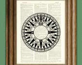 Mariner's Compass awesome upcycled vintage dictionary page book art print