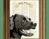 LABRADOR RETRIEVER Lab dog beautifully upcycled vintage dictionary page book art print PERSONALIZED