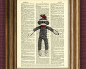 cool SOCK MONKEY illustration beautifully upcycled dictionary page book art print