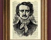 EDGAR ALLEN POE print illustration beautifully upcycled dictionary page book art print