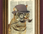 Dandy CAT with fancy monocle and bushy mustache illustration beautifully upcycled dictionary page book art print