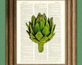 Green globe ARTICHOKE beautifully upcycled dictionary page book art print