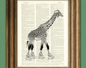 Roller Derby Queen Giraffe on skates altered art dictionary page illustration book print