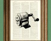 Antique PENCIL SHARPENER altered art dictionary page illustration book print