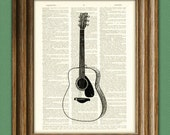 ACOUSTIC GUITAR altered art dictionary page illustration book print