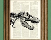 RAWR T-Rex dinosaur skeleton skull beautifully upcycled history animal dictionary page book art print