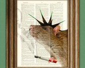 Ratty Rotten PUNK Rock RAT illustration beautifully upcycled dictionary page book art print Buy 3 Get 1 Free