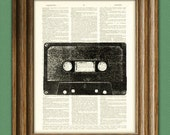 Spiffy CASSETTE MIX TAPE player print over an upcycled vintage dictionary page book art