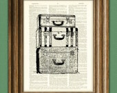 Long Trip Antique LUGGAGE altered art dictionary page illustration book print