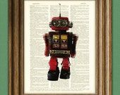 Robot Print DESTROY DESTROY Space Retro ROBOT geeky upcycled vintage dictionary page book art print