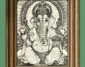 GANESHA Hindu Elephant God Ganesh print over an upcycled vintage dictionary page book art
