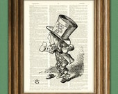 THE MAD HATTER Alice in Wonderland beautifully upcycled vintage dictionary page book art print