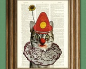 CATNIP the CLOWN CAT with nose, ruffled collar, and hat illustration beautifully upcycled dictionary page book art print