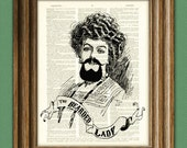The BEARDED LADY Carnival Sideshow Freak Circus Sign print over an upcycled vintage dictionary page book art 2