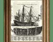 Ship of War Diagram at sea illustration beautifully upcycled dictionary page book art print