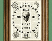 OUIJA BOARD art print original design over an upcycled vintage dictionary page book art