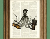 Soho Sally BEATNIK OCTOPUS with beret African Drum and bongos cuttlefish llustration beautifully upcycled dictionary page book art print