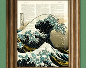 The Great Wave off Kanagawa awesome upcycled Japanese tidal wave vintage dictionary page book art print Hokusai