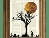 Halloween Tree Art Print Owl and Cat in a full moon graveyard print over an upcycled vintage dictionary page book art