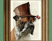 "Bulldog Art Print Steampunk Dog ""The Marquis De Butch"" illustration English Bulldog dictionary page book art print"