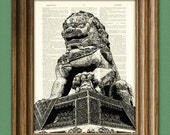 Fu Dog Chinese Guardian Dragon Foo Dog on vintage dictionary page book art print
