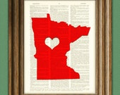 My Heart is in Minnesota state map awesome upcycled vintage dictionary page book art print