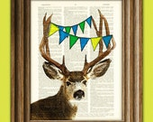 The Deer is Pleased to See You Deer with Bunting illustration beautifully upcycled dictionary page book art print