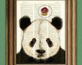 PANDA WANTS CUPCAKES Panda Bear beautifully upcycled vintage dictionary page book art print