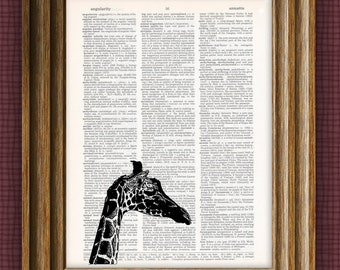 Cool giraffe beautifully upcycled vintage dictionary book art print 8.5 x 11 -  Buy 3 get 1 Free