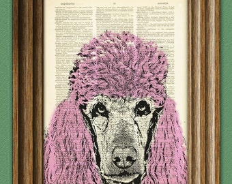 PINK POODLE beautifully upcycled vintage dictionary page book art print
