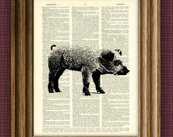 Pig Art Print Oink beautifully upcycled vintage dictionary page book art print baby pig