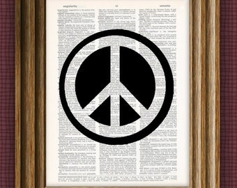 Peace Symbol Art Print beautifully upcycled dictionary page book art print 8.5 x 11