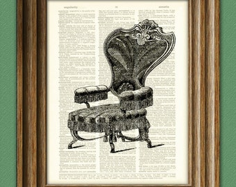 antique VELVET CHAIR illustration beautifully upcycled dictionary page book art print