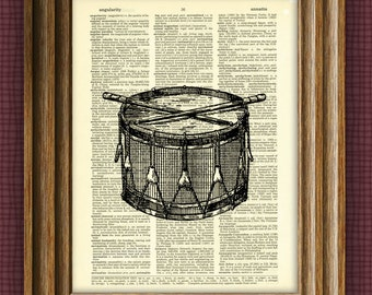 SNARE DRUM art print awesome upcycled vintage dictionary page book art print