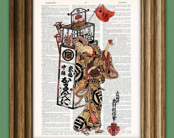 Japanese Art Print Oman Seller of Cosmetics beautifully upcycled vintage dictionary page book art print