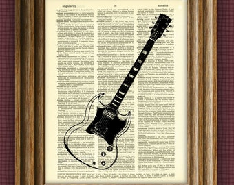 Gibson SG Guitar illustration beautifully upcycled dictionary page book art print