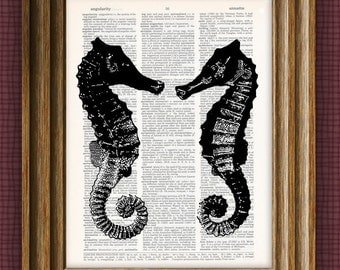 TWIN SEAHORSES beautifully upcycled print over dictionary page book art