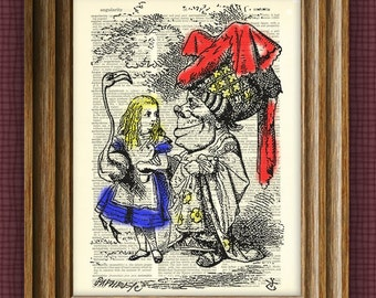 Alice in Wonderland Duchess illustration beautifully upcycled dictionary page book art print