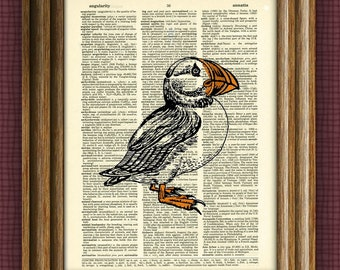 Puffin Art Print over an upcycled vintage dictionary page book art
